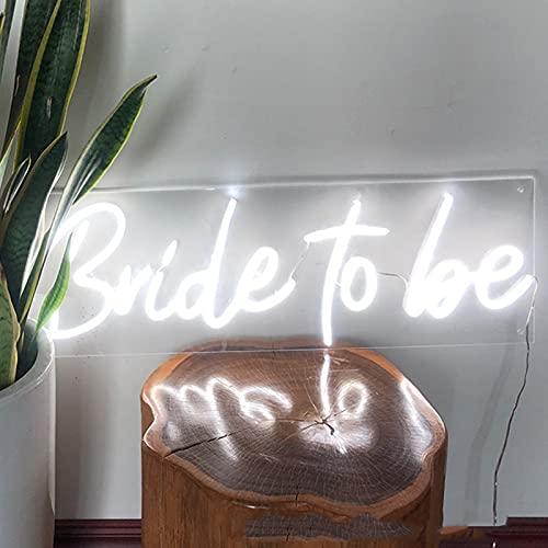 ZREYLLB Bride To Be Letreros de Neón Luz de Noche LED Adornos de Arte Únicos Alimentado por USB Decoración Mural por Habitación Sala de Estar Fiesta Cumpleaños Navidad Bar