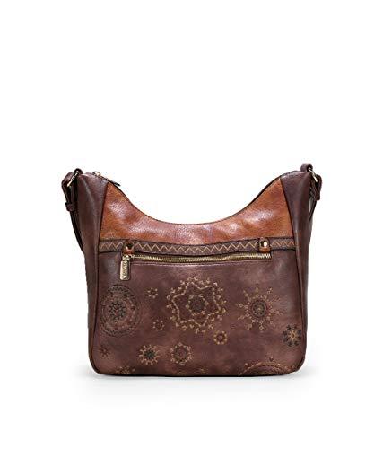 BOSANOVA Bolso góndola marrón con Bordado Marron U