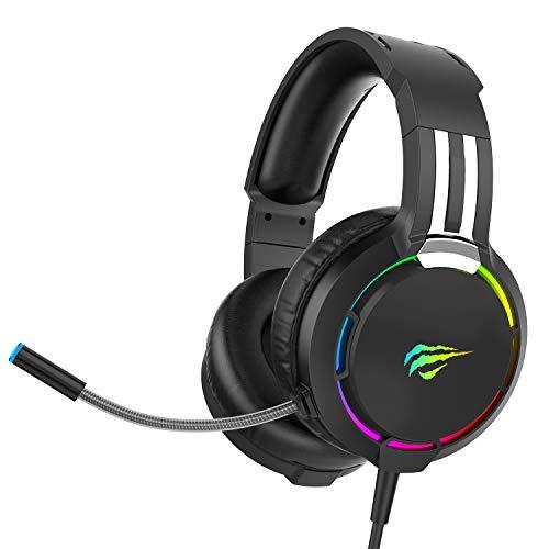 Auriculares Gaming PS4 HAVIT Iluminación RGB Cascos Gaming Sonido Envolvente, Controlador de 50MM y micrófono con reducción de Ruido para Xbox One/PC/Móvil (2010d,Negro)