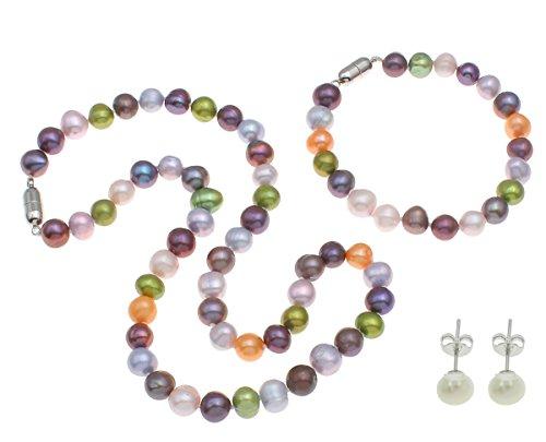 TreasureBay Parure con Collana Braccialetto e Orecchini con Perle Multicolore