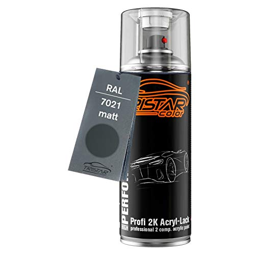 RAL 7021 Schwarzgrau matt 2K Acryl Sprühdose Spraydose Spritzlack Sprühlack 400 ml schnelltrocknend