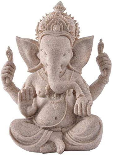 aipipl Esculturas de Cabeza Bustos Arenisca Elefante Dios Estatua de Buda Esculturas de Lord Ganesha Figuras de Ganesh Budismo hindú para decoración