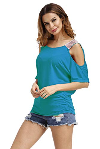 Camisas Hombros Descubiertos Mujer Casual Colores Lisos T Shirt Manga Corta Sin Tirantes Camiseta Cuello Barco Niña Moda Suelta Blusas Verano Talla Grande Túnica Top Deporte Pull-Over Sweatshirt