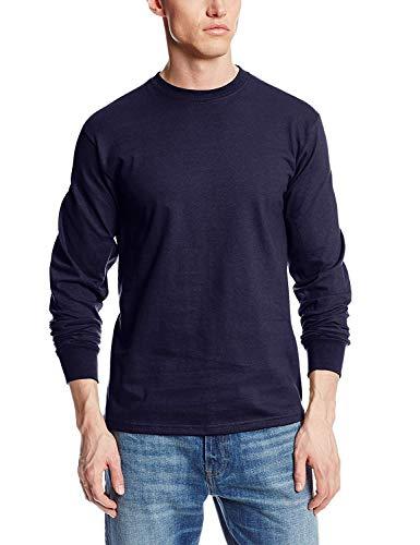 MJ Soffe Men's Long-Sleeve Cotton T-Shirt, Navy, X-Large