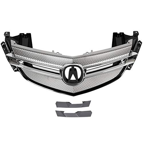 ECOTRIC New Front Grille Grill Chrome Plastic With Silver Moulding Trim Compatible With 2007-2009 ACURA MDX Chrome Front Bumper Grille Cover Molding Vent Hood Trim