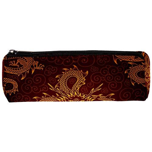 Estuche clásico de dragón rojo de oro chino para lápices con cremallera, organizador de monedas, bolsa de papelería, bolsa de maquillaje, bolsa de cosméticos para mujeres, adolescentes, niñas y niños