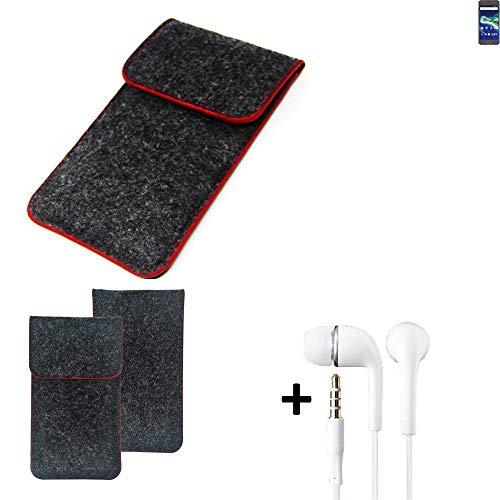 K-S-Trade Handy Schutz Hülle Für General Mobile GM 6 Schutzhülle Handyhülle Filztasche Pouch Tasche Hülle Sleeve Filzhülle Dunkelgrau Roter Rand + Kopfhörer