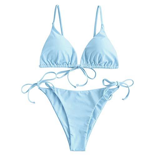 ZAFUL Damen Gepolstert Bikini Set, Einfarbig Bikini Badeanzug mit Dreieck Cup Spaghetti-Träger (Hellblau, S)