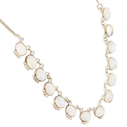 Jollys Jewellers Collar de plata de ley de 46,4 cm con piedra lunar (9 mm de ancho)   Collar único para mujer