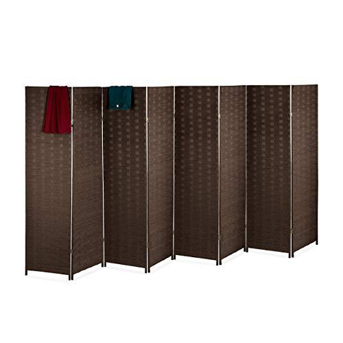 Relaxdays Paravent Raumteiler, HxB: 170x320 cm, Faltbarer Raumtrenner, 8-teiliger Sichtschutz, Holz & Papierseil, braun