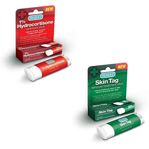 Restorz Hydrocortisone 1% Cream Treatment Stick and Skin Tag Remover with Thuja Occidentalis 6X, 2 in 1 Pack Bundle, Fast Acting Relief and No Mess Ointment with Easy to use Stick Application