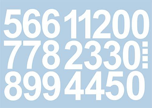 Sticker met cijfers, 15 cm hoog, wit, 101 lijmrekken, zelfklevende cijfers en nummers 0-9, ideaal voor gebruik buitenshuis, want water en weerbestendig