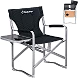 Kingcamp Lightweigt Aluminum Directors Chair, Portable Folding Camping Chairs with Table Attached, Padded Full Back Lawn Chairs Outdoor, Armrest, Cup Holder