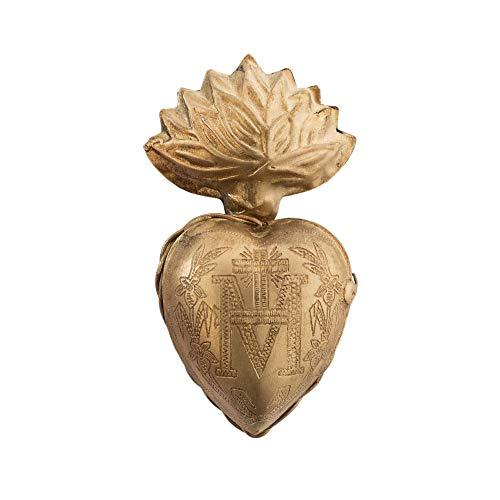 Sacred Hearts, Small Flame Heart, Metal Heart Milagro, Gold Heart Box, Ex Voto, Single Unit (Gold)