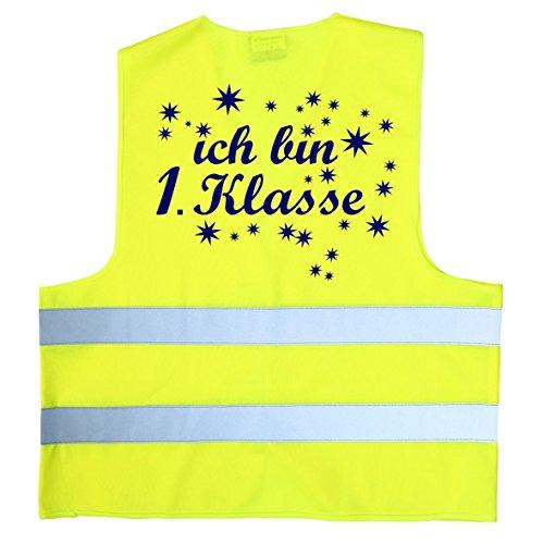 Coole-Fun-T-Shirts Ich Bin 1. Klasse ! Warnweste zur Einschulung Schulanfang ABC Schützen Gr. S 152-160 cm Neongelb