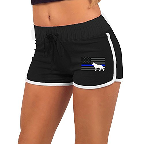 Womens Sexy Booty Shorts K9 Police Dog Thin Blue Line Flag Low Waist Gym Workout Raves Tight Pants