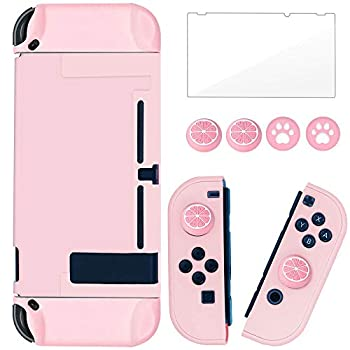 BRHE Dockable Switch Protective Case Cover for Switch with Glass Screen Protector Anti-Scratch Shock-Absorption Grip Cover-Pink