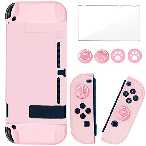 BRHE Dockable Switch Protective Case Cover for Switch with Glass Screen Protector, Anti-Scratch Shock-Absorption Grip Cover-Pink