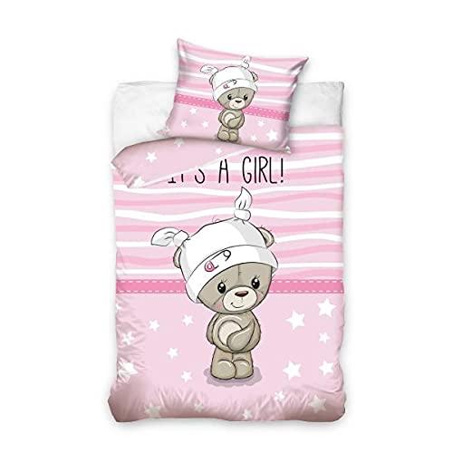 Funda de edredón con diseño de osito de color rosa, 100 x 135 cm, para cuna de bebé, 100% algodón.