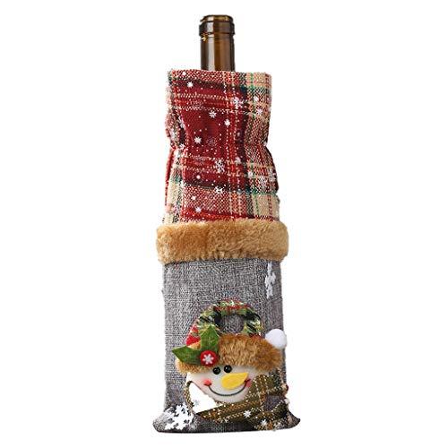 Leey Weihnachtsschmuck Weinflasche Set Plaid Leinen Flasche dekoriert Champagner-Tasche