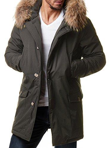 Burocs Herren Winterjacke Lang Parka Echtfell-Kapuze Warm Schwarz Khaki BR1626, Größe:M, Farbe:Khaki 2