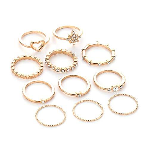 kakiyi Bohemian Retro Luna congiunta anello dell'articolazione Imposta Donne Ragazze strass a forma di cuore Anelli a mano gioielli Set
