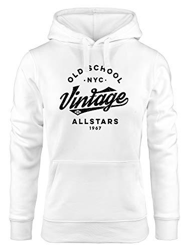 Neverless® Hoodie Damen College Style Schriftzug Oldschool Vintage Allstars Kapuzen-Pullover Fashion Streetstyle weiß S