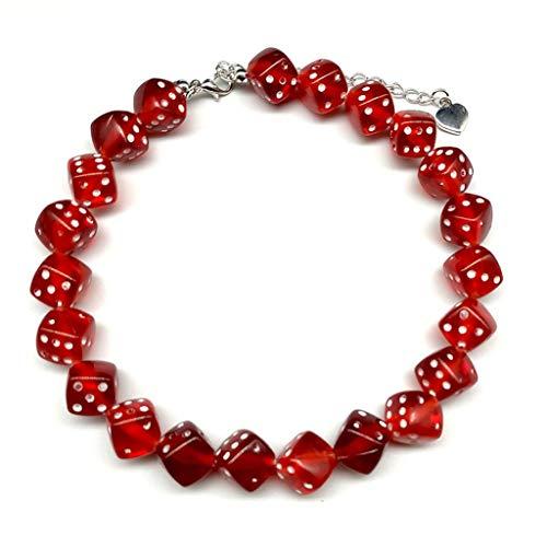 BE YOU TIFUL Collar de Moda, Colorido Acrílico Dados Perlas Estiramiento Gargantilla Divertido Juego Lucky Dice Collar Mujeres - Rojo