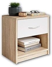 Stella Trading PEPE en chêne Sonoma Optics, blanc-Table de nuit simple avec un tiroir convenant à tous les lits et chambres à coucher, 39 x 41 x 28 cm