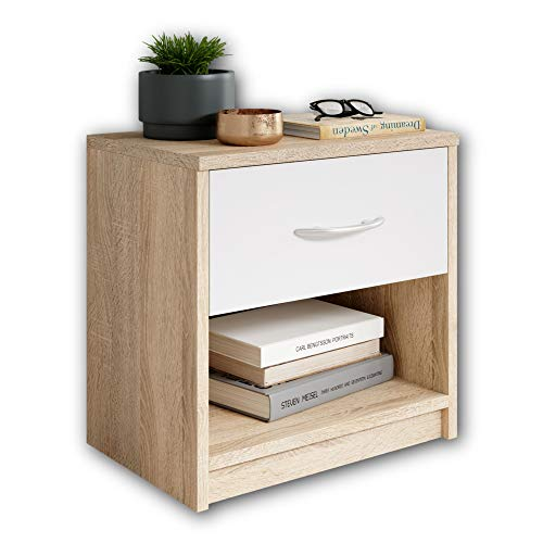 Stella Trading Bedside Table, Oak, Sonoma/ABS White, 28 x 39 x 41 cm