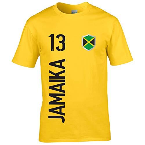FanShirts4u Kinder Fanshirt Trikot Jersey Jamaika Jamaica T-Shirt inkl. Druck Wunschname u. Wunschnummer WM (3/4 Jahre 98-104 cm, Jamaika/Gelb)