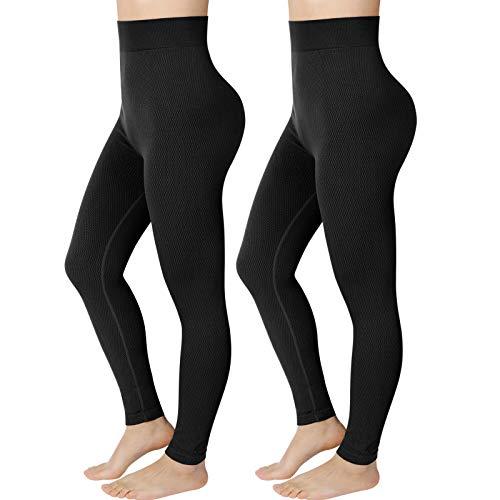 Emooqi Leggings de Sport Femme, Pantalon de Yoga Noir Taille Haute pour Contrôle du Ventre, Legging Minceur Gym pour Pilates Course à Pied Fitness