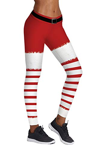 Pink Queen Women's Santa Claus Costume White Red Leggings Pants,US S-M,Christmas Pattern 22