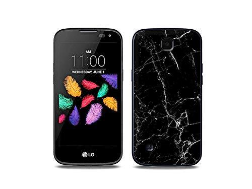 etuo Handyhülle für LG K3 LTE (K100) - Hülle, Silikon, Gummi Schutzhülle - Schwarze Marmor