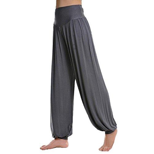 Minetom Frauen Harem Ruched Slouchy Lang Yoga Sporthose Bloomer Jogging Freizeithose (Dunkelgrau 1)