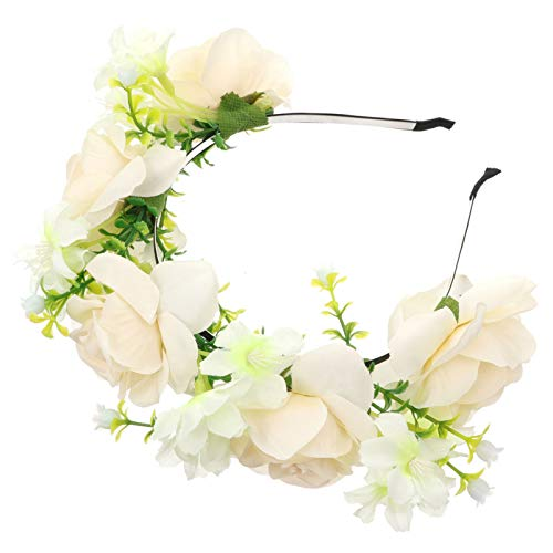 SOIMISS Rose Flower Headband Floral Crown Wreath Garland Halo Mexican Headpiece Christmas Wedding Festival Party Women Girls Hair Accessories Costume Decor White