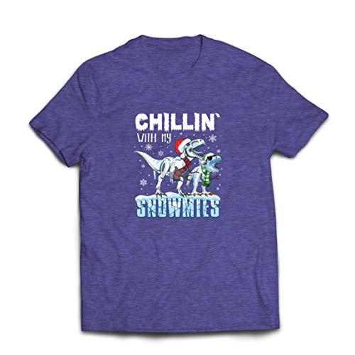 lepni.me Männer T-Shirt Chillin mit Meinen Schneemühlen Weihnachten T Rex Dinosaurier (X-Large Heidekraut Blau Mehrfarben)