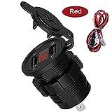 Doble USB Adaptador de zócalo del cargador DIRIGIÓ Pantalla con cubierta de polvo Socket Motocicleta de coche (salida 5V2.1A / Entrada 12v24v) (Color Name : Red)