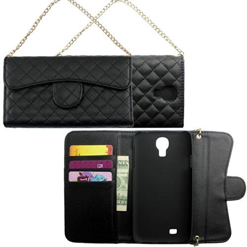 Samsung Galaxy S4 i9500 i9505 bekleding zwart clutch handtas kunstleer design flip beschermhoesje case flip tasje cover thematys®