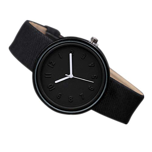 Oyedens Moda Donna Orologio Analogico Orologio da Polso Unisex Simple Fashion Number Watches Quartz Canvas Belt Wrist Watch Orologio Creativi Impermeabile Decorazione (Nero) Regalo Donna