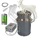 Hantop Goat Milking Machine, Pulsation Rechargeable Battery Vacuum Pump Milker,...