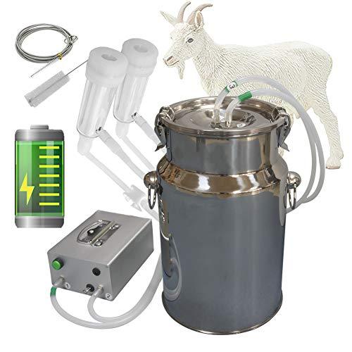 Hantop Goat Milking Machine, Pulsation Rechargeable Battery Vacuum Pump Milker, Automatic Portable Livestock Milking Equipment (Battery Milker 7L,for Goat)