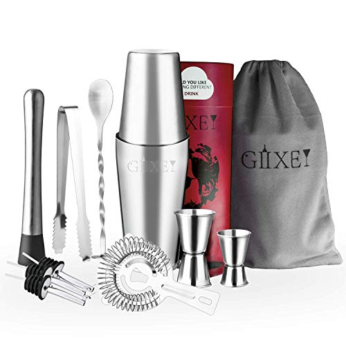 Giixer 11 Pieces Cocktail Shaker Bar Sets in Gift Package Stainless Steel Chrome 600ml/750ml Boston Shaker Double Jigger Muddler Cocktail Strainer Bar Liquor Pourers