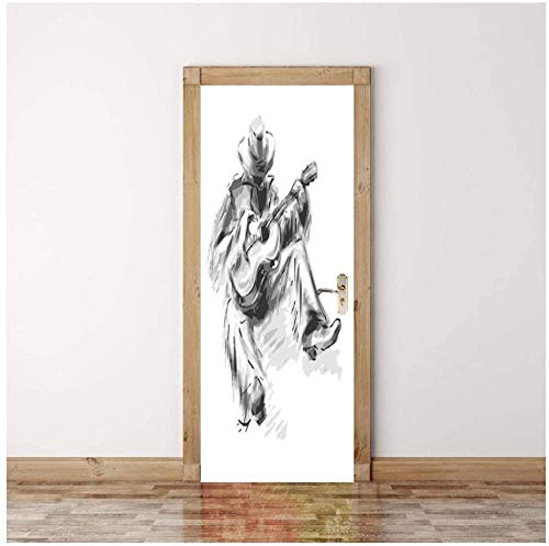 Türaufkleber 3D-Aufkleber Cowboy-Gitarren-Comics Tapete Abnehmbare selbstklebende Wandbilder für Schlafzimmer Büro-Wandaufkleber Inneneinrichtung-ktDqV -95 cm (B) * 215 cm (H)