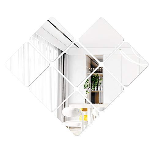 Mobiut Espejo Pared Flexible 20 x 20 cm,8 pcs Forma Cuadradas Espejos de Pared ,Espejos Decorativos Pegatinas Espejo Pared para la Superficie de la Decoración de la Oficina en el Hogar (Plata)