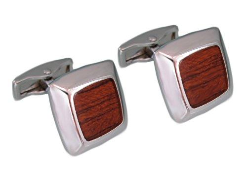magdalena r. Holz Manschettenknöpfe braun silberfarben glänzend inkl. Geschenkbox