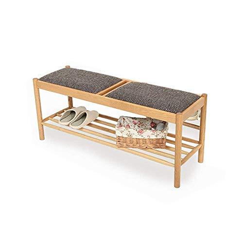 GENFALIN Zapato estantes de madera zapatero banco de almacenamiento con amortiguador de asiento de Pasillo Dormitorio banco tapizado ahorro de espacio Fácil Ensamble (Color: madera, tamaño: 110x45x35c