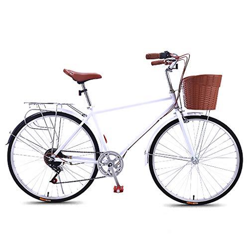 LWZ Damen Beach Cruiser Bikes 26 Zoll 7-Gang Classic High Carbon Steel City Retro Pendler Fahrrad mit Basket Seaside Travel