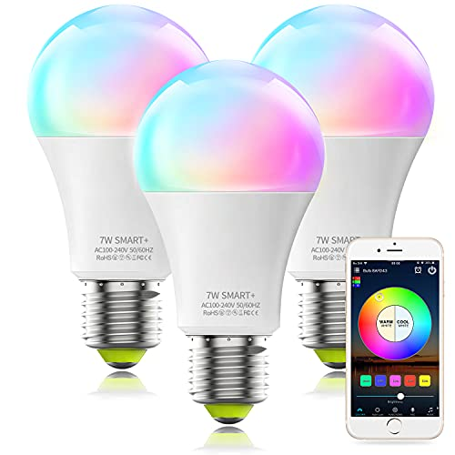 Alexa Smart Light Bulb No Hub Required, MagicLight A19 RGBCW Multicolored & Tunable White 2700-6500k WiFi Smart LED Bulb, Works with Alexa Google Home SmartThings (3Pack)