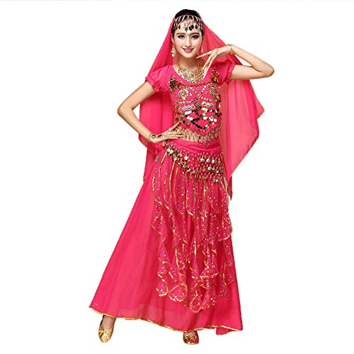 TWIFER Damen Bauchtanz Outfit Kostüm Indien Tanzkleidung Top + Rock mit Laternehülse